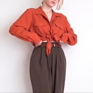 Vintage 90s burnt orange silk button down blouse